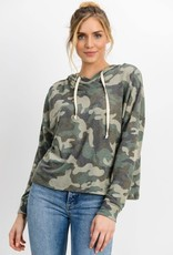 Camo print french terry hooded top
