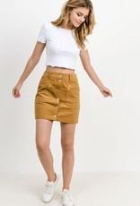 Camel corduroy button down skirt