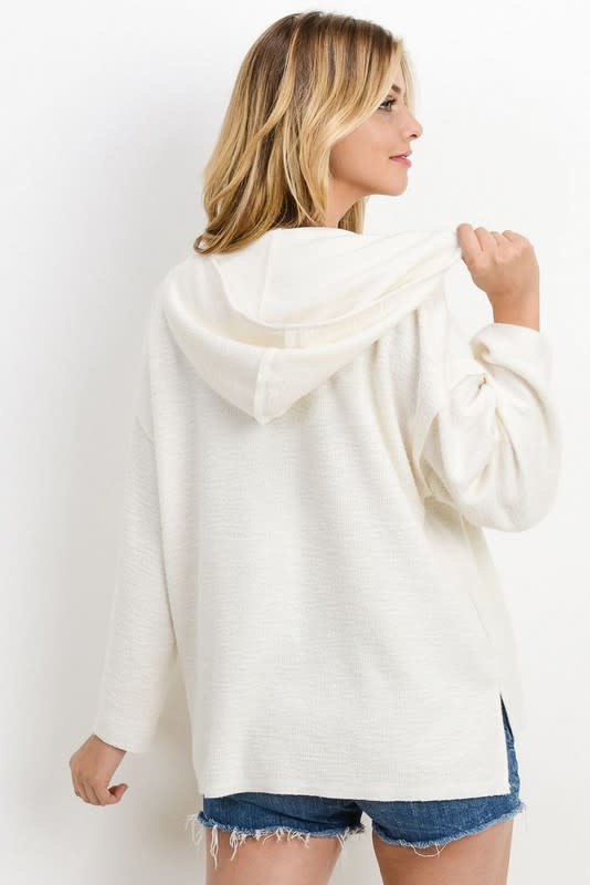 Ivory brushed rib front hooded top