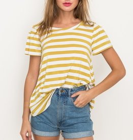 Mustard striped ruffle sleeve top