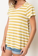 Mustard striped ruffle sleeve top