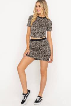 Brown leopard animal print skirt