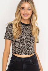 Brown leopard print cropped ringer top