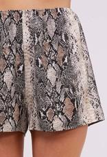 Camel snake skin print shorts