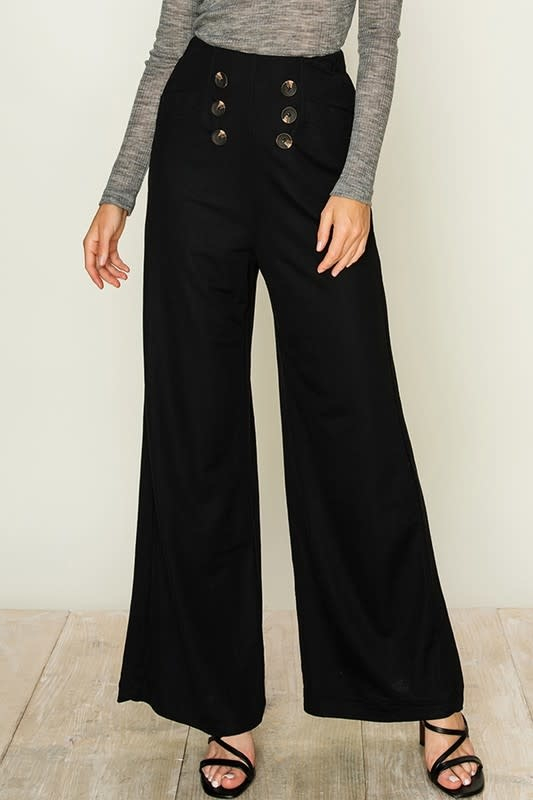 Black wide leg pants w/button front