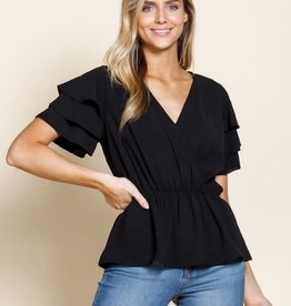 Black 3 tier ruffle wrap blouse