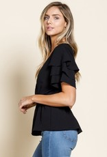 Black 3 tier ruffle wrap blouse
