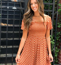 Bronze print smocked square neck dress