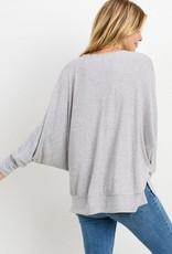 Grey brushed V neck LS top