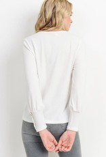 Ivory LS B neck top w/button cuff detail