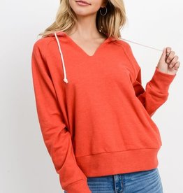 Red V neck hoodie