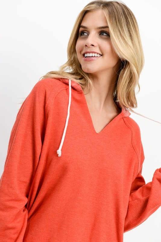 Red V neck hoodie