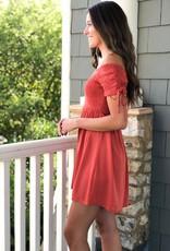 Rust OTS smocked dress