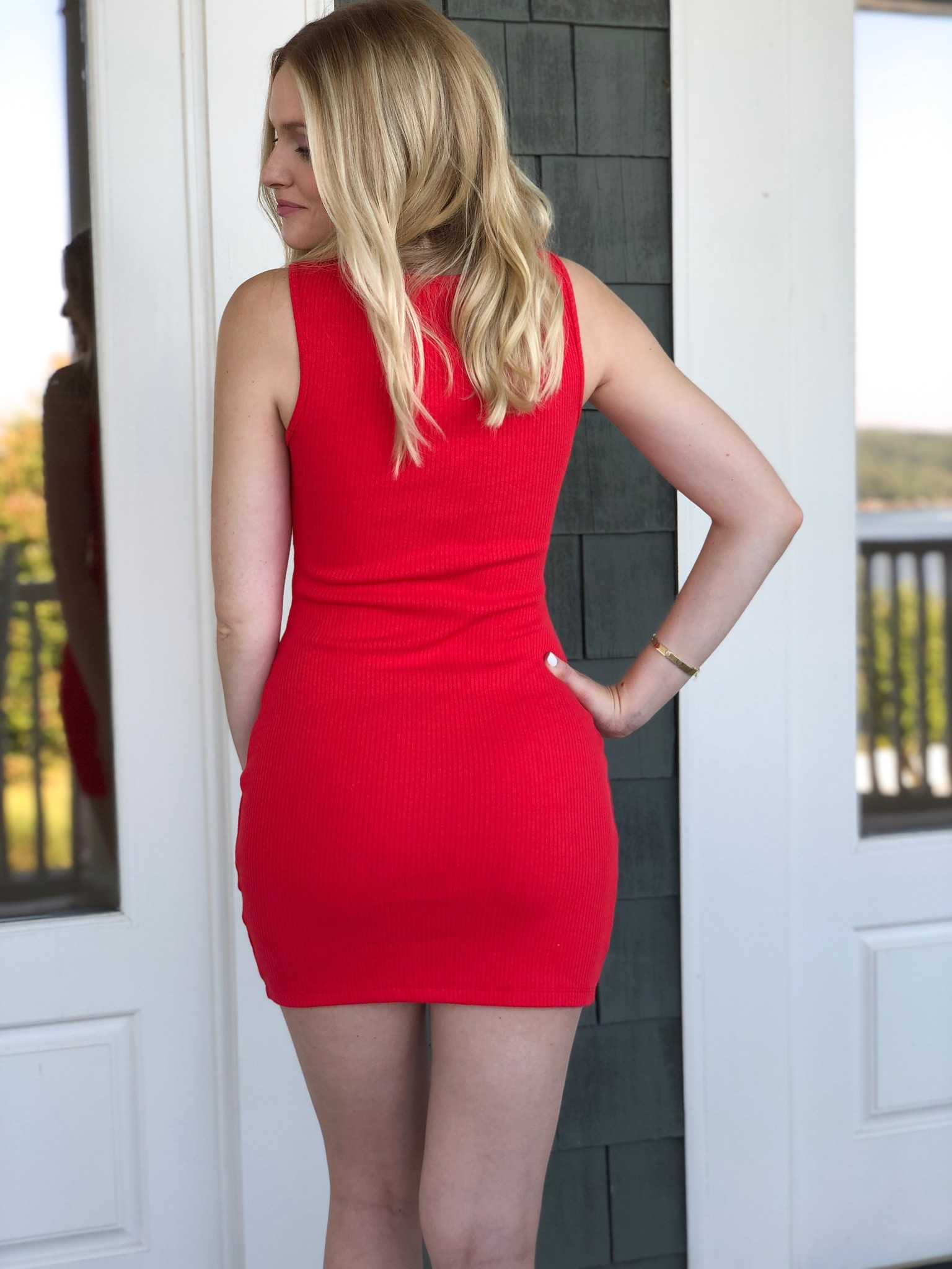 Red ribbed mini dress