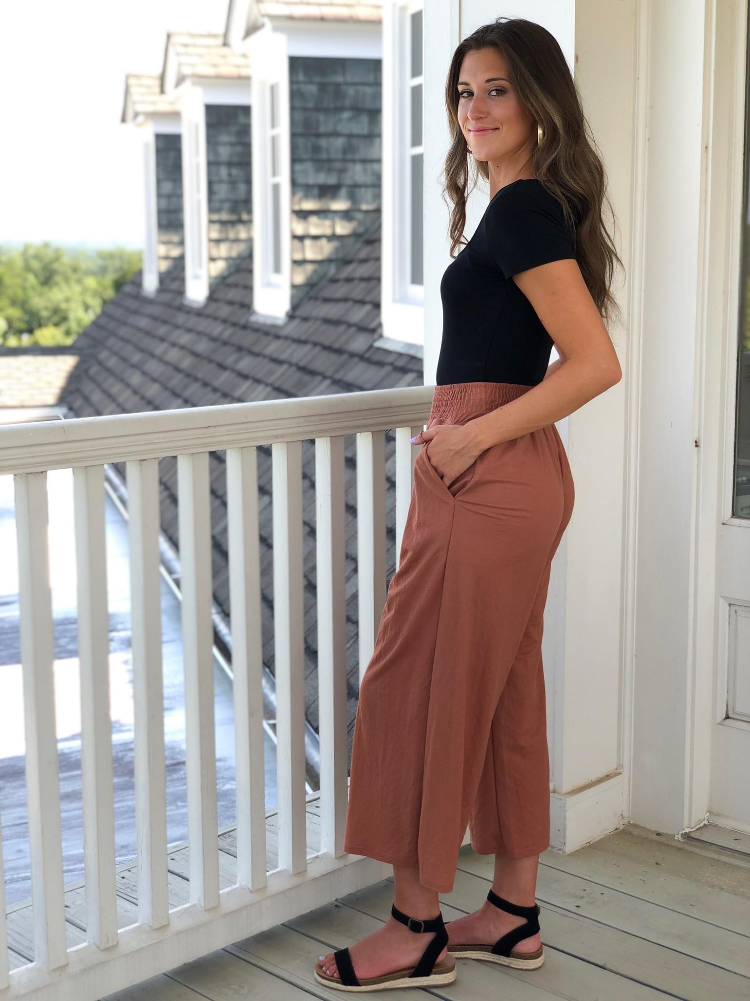 Rust wide leg, cropped pants