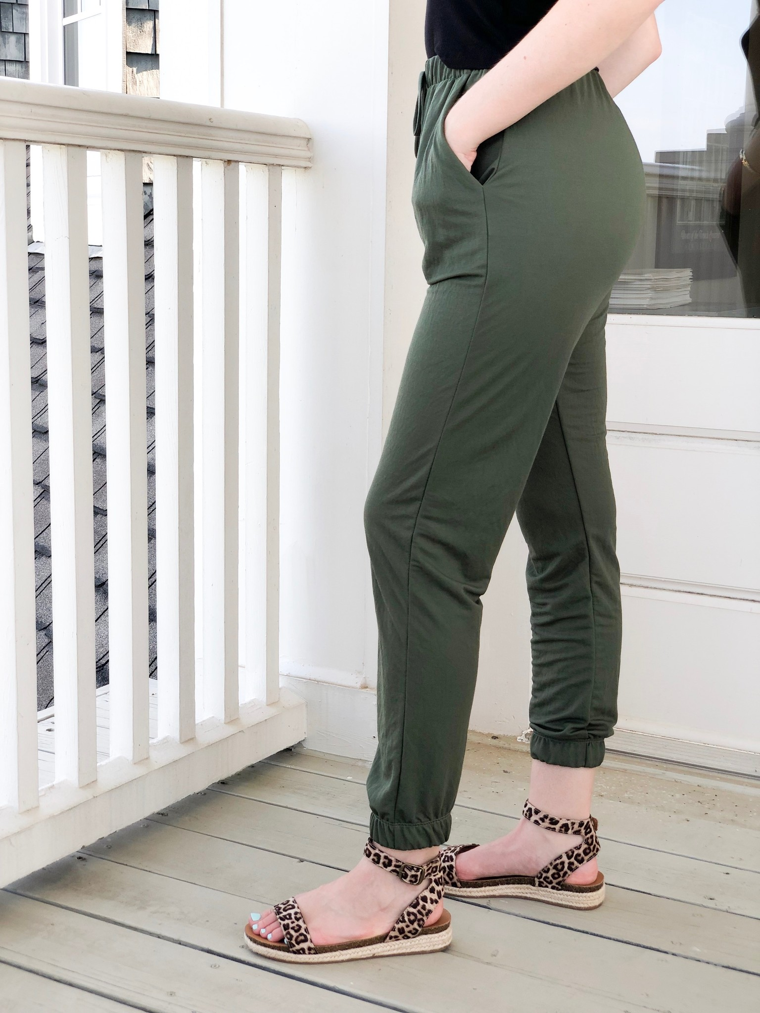 Olive drawstring banded pants