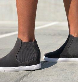 Faux suede hi top slip on sneaker w/inside wedge