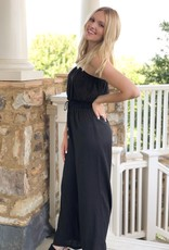 Black strapless wide leg jumpsuit