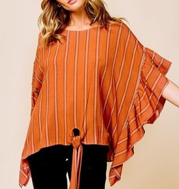 Rust stripe ruffle sleeve poncho style top
