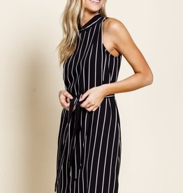 Black striped surplice self tie dress