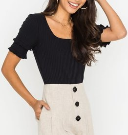 Linen buttoned wide pleat shorts