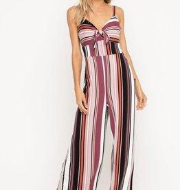 Black & mauve striped jumpsuit