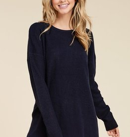 Navy LS waffle sweater