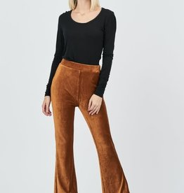 Ribbed velvet flare pants