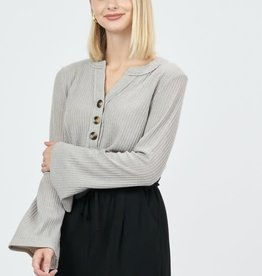 LS waffle knit top w/front buttons