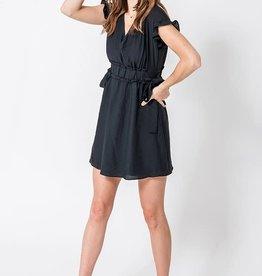 Black cap sleeve ruffle trim dress
