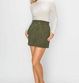Olive corduroy paper bag waist skirt