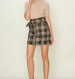 Grey plaid belted skirt