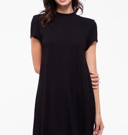 Black mock neck dress w/tie back sash