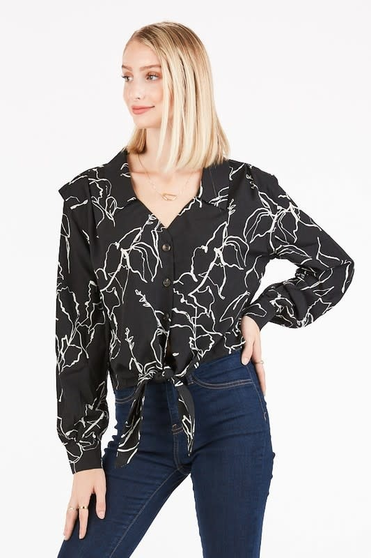 Floral print semi cropped, tie front blouse