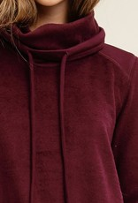 Burgundy fur terry cowl neck pullover