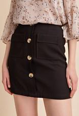 Black button front mini skirt