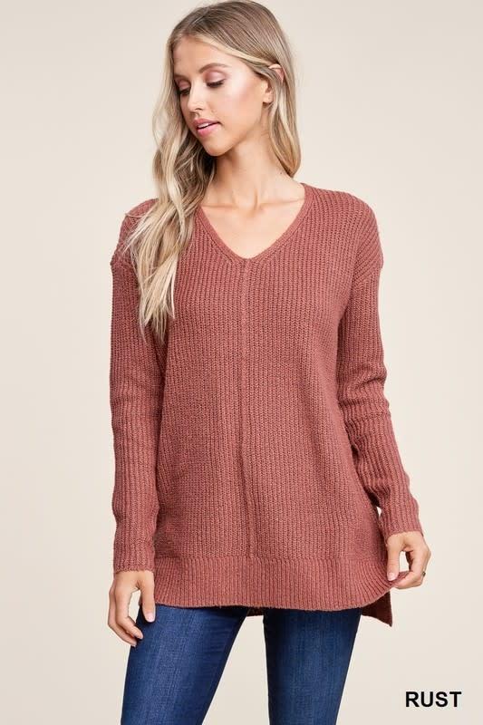 Rust loose knit sweater