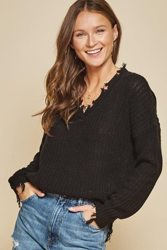 Black V neck distressed sweater