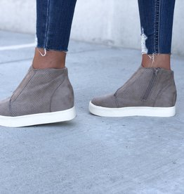 Taupe faux suede wedge sneaker