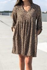 Leopard print V neck babydoll dress