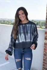 Black tie dye cropped sweatshirt