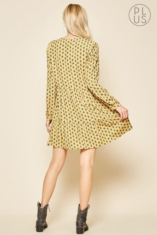 Mustard print LS babydoll dress