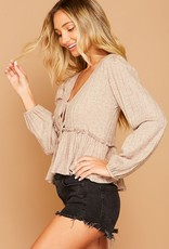 Oatmeal tie front frill top