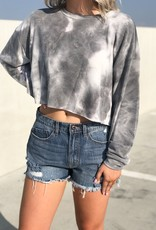 Lt grey tie dye terry knit top