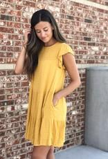 Mustard swiss dot ruffle tiered dress