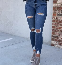 Med wash distressed high rise skinny crop jeans