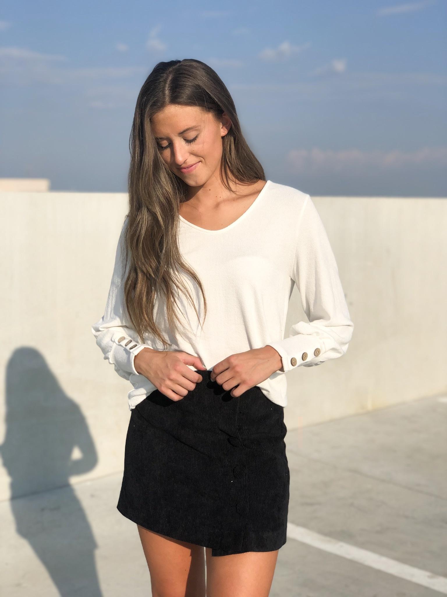 Black corduroy skirt w/side button detail