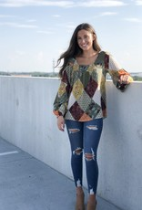 Olive patchwork smocked chest top