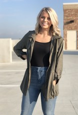 Olive corduroy zip front, double pocket jacket
