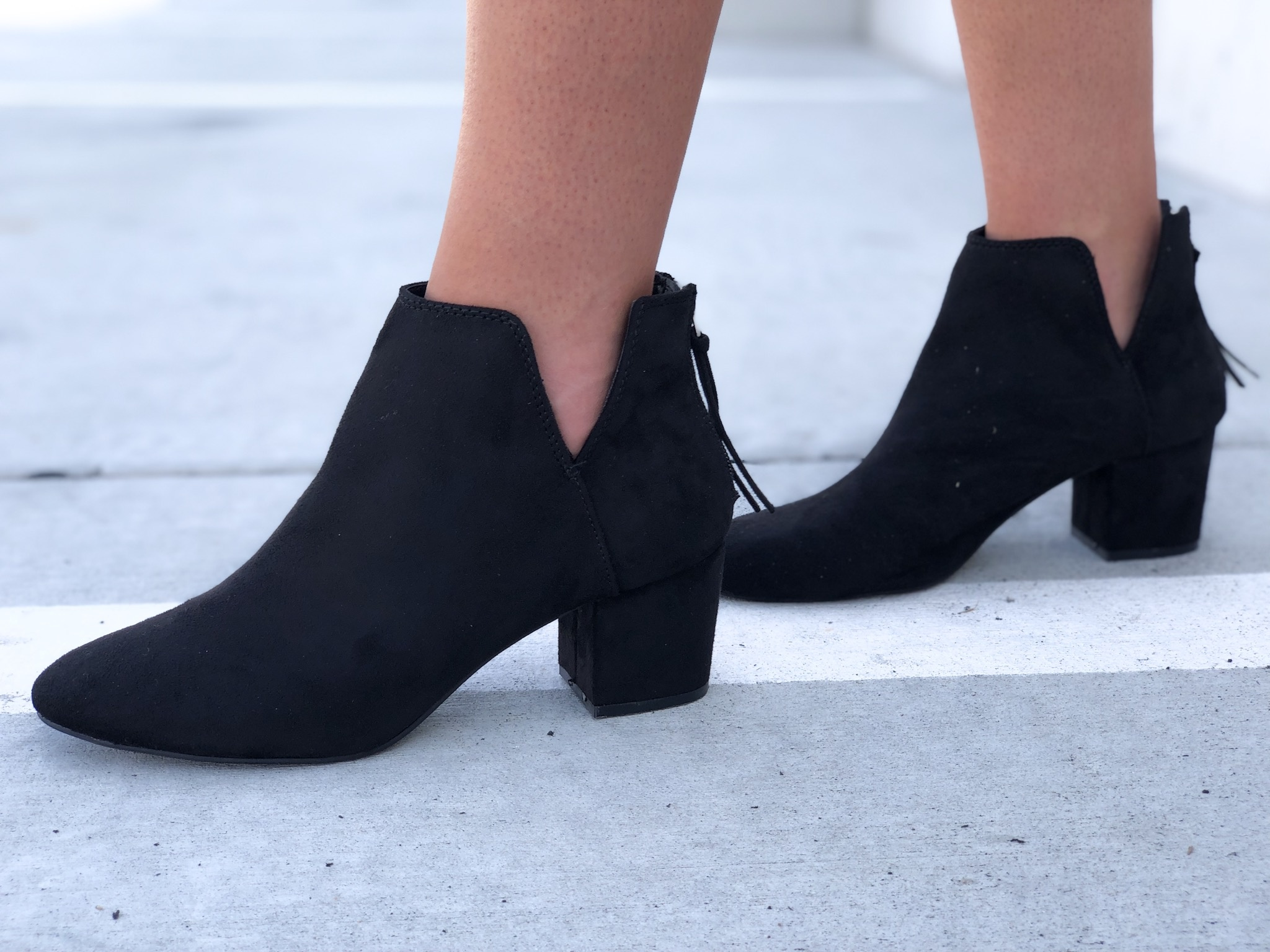 Black faux suede V cut bootie